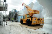 Completed ice flow recreations border construction areas as the attraction takes shape.