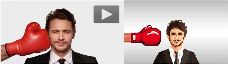"On the left, the original promo for ""Comedy Central Roast of James Franco."" On the right, an image from the online game that Fallon created."
