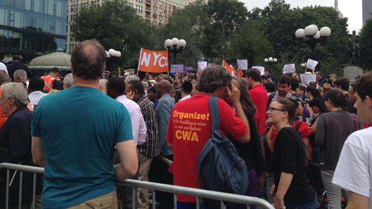 Fast Food Workers rally for higher wages at Union Square.