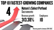 No. 4. Nature's Select Petfood of Sacramento, with 10 employees, saw revenue growth of 313.38 percent between 2010 and 2012.