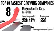 No. 8. Magnus Pacific Corp. of Roseville, with 250 employees, saw revenue growth of 236.43 percent between 2010 and 2012.