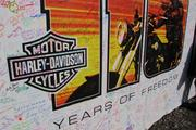 Many riders had signed the mural by late Thursday afternoon.
