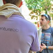 Nick Honegger, wearing his VentureLab T-shirt, and Pat Condon (right), co-founder of Rackspace, nurtured their entrepreneurial dreams while students at Trinity University.