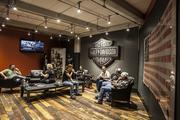 Riders sat in the Harley-Davidson headquarters.