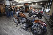 Motorcycles on display at the Harley-Davidson headquarters.