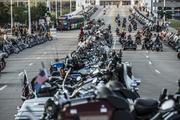 Motorcycles were parked on South Sixth Street near the Harley-Davidson Museum.