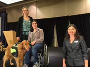 Left to right, Summit Assistance Dogs Trainer Lisa Freshour, client Melissa Mitchell with her Summit Assistance dog Tanner, with Summit's Executive Director Sue Meinzinger at the recent Unleash your Love fundraiser, which raised $180,000 for the nonprofit.