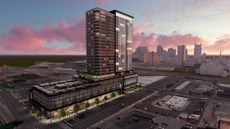 Endeavor Real Estate Group, of Austin, is proposing this 27-story tower at the corner of 12th Avenue North and Broadway.