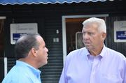 Bill Parcells (right), former NFL head coach and two-time Super Bowl champion. Parcells spends five months a year at his home in Saratoga Springs. Box: C41. Price: $9,044