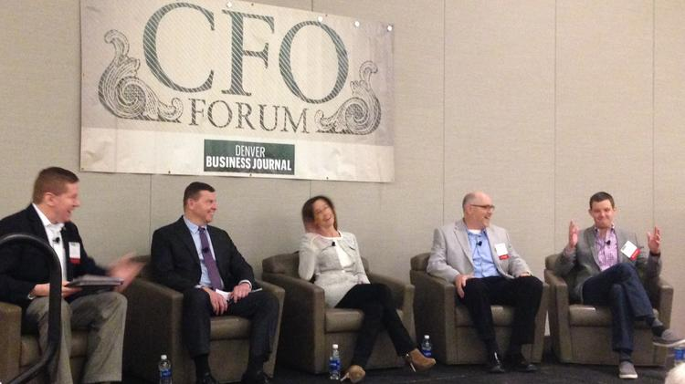 (from Left) Mike Pritchard, University of Colorado Foundation, David Roshak, Optiv, Karyn Miller, Craftsy, Dan Grote, ReadyTalk and Brad Downes, Altitude Digital, talked Tuesday at the Denver Business Journal's annual CFO Forum about company culture and hiring the right employees when growing a company.