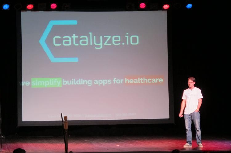 Catalyze.io co-founder Dr. Travis Good presents to investors during the Gener8tor launch event in Milwaukee in August.