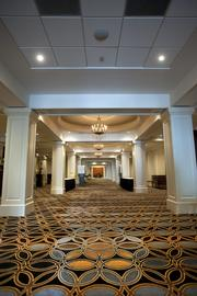New wool carpeting in the Medallion Ballroom foyer was designed by British company Axminster Carpets Ltd. and loomed in Portugal. The foyer also has had 168 new lighting fixtures installed.