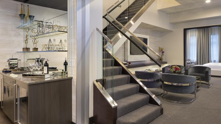 The suite totals 2,500 square feet over two floors.