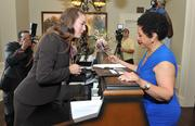 Sheila Johnson, founder & CEO of Salamander Hotels & Resorts, was the first guest to register at her Salamander Resort in Middleburg on Thursday. For complete coverage, click here.