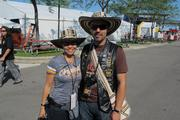 Siomara Hernandez, 40, and Oscar Romero, 37, traveled 2,800 miles from Bogota, Colombia, to Milwaukee for the Harley-Davidson 110th anniversary celebration.