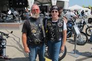 Mike Wincek, 55, and wife Sue, 49, rode nearly 1,200 miles from their home in Ocala, Fla., to reach Milwaukee for the Harley-Davidson 110th anniversary celebration.