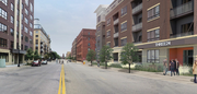 An artists view looking west along North First Street, with George Sherman's proposed apartment project visible on the right. (If you look carefully, The Beatles appear to be crossing the road.)
