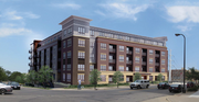 A rendering of the 324 N. 1st Street Apartments proposed by George Sherman at a site where construction started a decade ago on an  8-story condo tower.