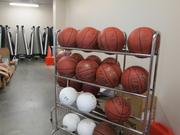 The storage room of the center where items like basketballs and volleyballs are stored.