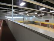 The running direction of the indoor track rotates every other day and includes runnning, jogging and walking lanes.