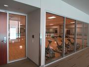 The second floor of the fitness building includes classrooms and lounge areas.
