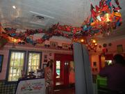 There are a total of 1,208 colorful fish hanging in the restaurant's entry and in the bar.