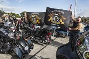 Riders proudly showed off their Harley Owners Group flags.