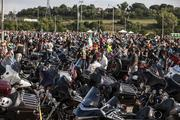 Thousands of bikers packed the Miller Park parking lots.