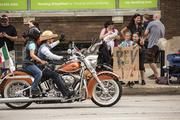 Harley riders frequently interacted with the crowd.