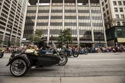 Several motorcycles included sidecars.