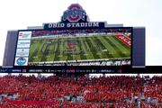 The band took the field minutes before kickoff, relayed on Ohio Stadium's giant scoreboard.