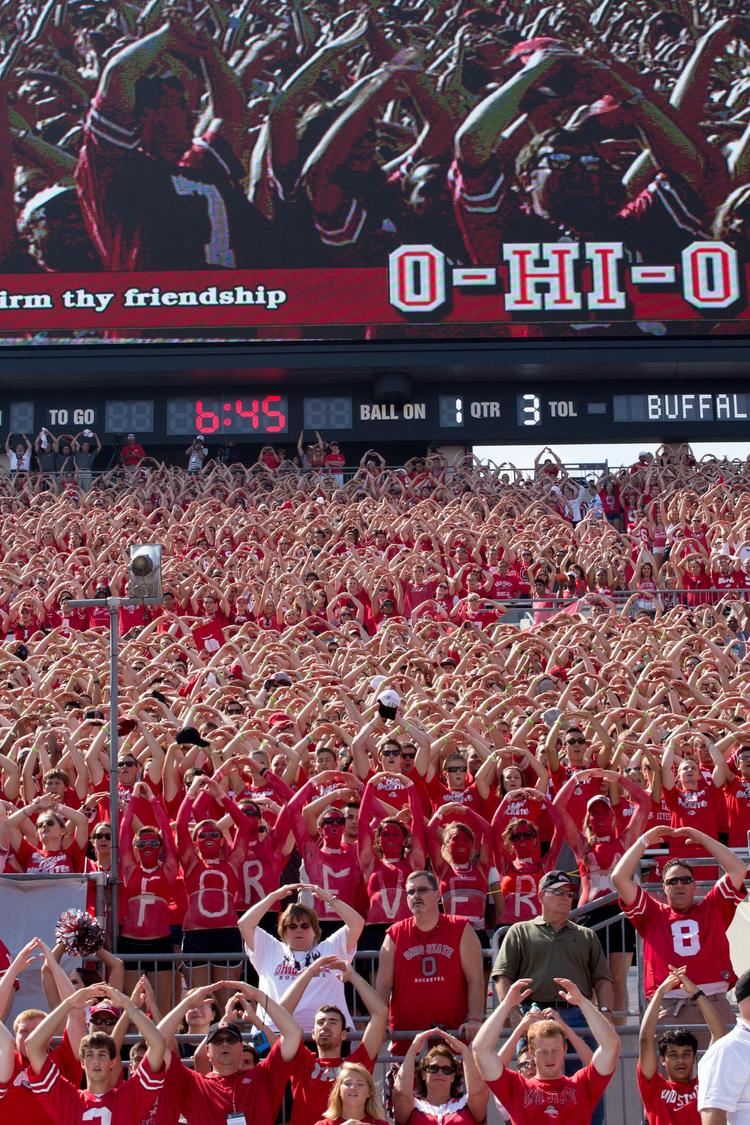 The Ohio State University Buckeyes have a large and loyal fan base, both at games and online.