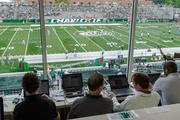 Inside the press box at Jerry Richardson Stadium. The 49ers beat the Campbell Fighting Camels 52-7 in their inaugural football  on Aug. 31, 2013.