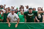 Charlotte 49ers fans get rowdy. The 49ers beat the Campbell Fighting Camels 52-7 in their inaugural football game at Jerry Richardson Stadium, on Aug. 31, 2013.