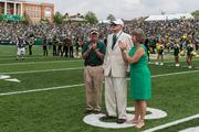 Pre-game ceremonies. The 49ers beat the Campbell Fighting Camels 52-7 in their inaugural football game at Jerry Richardson Stadium, on Aug. 31, 2013.