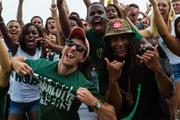 Charlotte 49ers fans show their enthusiasm for football. The 49ers beat the Campbell Fighting Camels 52-7 in their inaugural football game at Jerry Richardson Stadium, on Aug. 31, 2013.