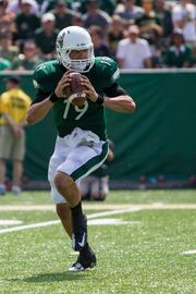 Charlotte 49ers quarterback Patrick O'Brien looks for an open receiver. The 49ers beat the Campbell Fighting Camels 52-7 in their inaugural football game at Jerry Richardson Stadium, on Aug. 31, 2013.