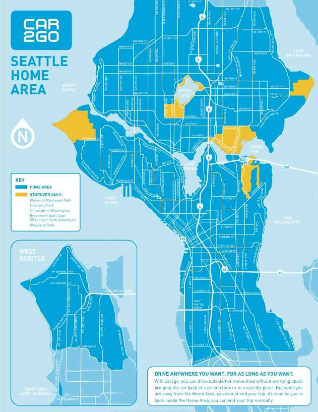 Georgetown Seattle Map.Car2go Expanding Rental Service To Southeast Seattle And West
