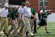 Carolina Panthers owner and UNCC donor Jerry Richardson on the field for pre-game ceremonies. The 49ers beat the Campbell Fighting Camels 52-7 in their inaugural football game at Jerry Richardson Stadium, on Aug. 31, 2013.