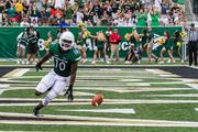Charlotte 49ers slot receiver Austin Duke celebrates a touchdown. The 49ers beat the Campbell Fighting Camels 52-7 in their inaugural football game at Jerry Richardson Stadium, on Aug. 31, 2013.