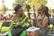 Sheila Rohan (right), a family member of Romare Bearden, and family friend Janet Robinson, enjoy some Italian ice. They are both with the Romare Bearden Foundation in New York, in Charlotte for the park dedication.