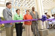 On hand for a special ribbon cutting on Aug. 30 were (from left) Charlotte Center City Partners President and CEO Michael Smith, Mecklenburg County Commissioners Chair Pat Cotham, Charlotte Mayor Patsy Kinsy and interim County Manager Bobbie Shields.