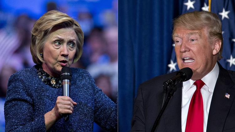 Democrat Hillary Clinton and Republican Donald Trump are vying to be president of the United States.