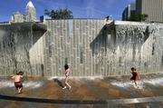 Children enjoyed the large water-play feature.