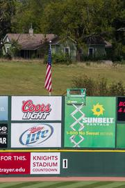 Beyond Knights Stadium's outfield wall sits the former home of the late Doyle Jennings, who donated the land where the stadium sits.