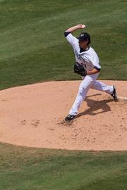 Charlotte Knights pitcher Zach Stewart fires away during the final game at Knights Stadium.