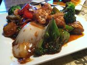 Hawker's Delight, a veggie plated stir-fried in a light soy sauce.