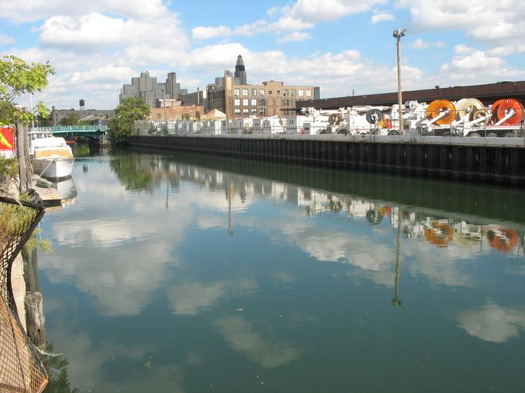 A section of the Gowanus Canal, in Brooklyn. The water in the canal is widely considered toxic, due to the presence of industrial zones along the canal's path.