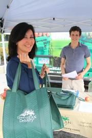 Annie Kerr is a happy customer after picking up her Green Bean delivery.