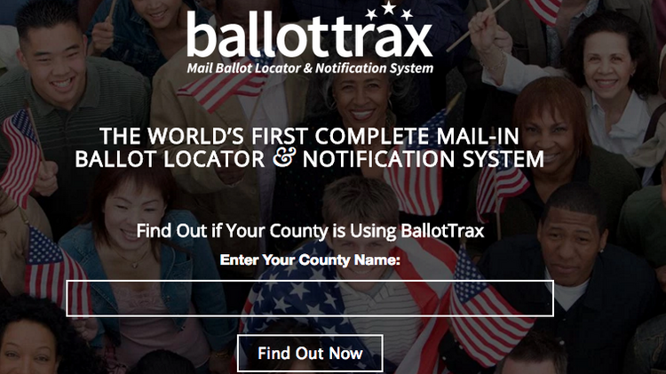 A screen shot of BallotTrax, software for near real-time ballot tracking.